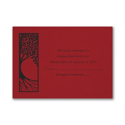 Tree of Life - Response Card and Envelope - Claret