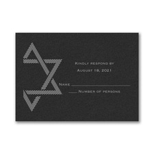 Decorative Mitzvah - Response Card and Envelope - Black Shimmer