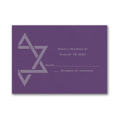Decorative Mitzvah - Response Card and Envelope - Purple Shimmer