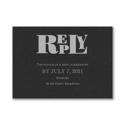 Party Mitzvah - Response Card and Envelope - Black Shimmer