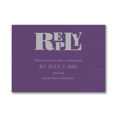 Party Mitzvah - Response Card and Envelope - Purple Shimmer