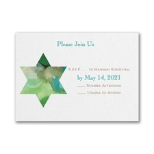 Be Bold - Star of David - Response Card and Envelope - Emerald