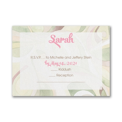 Modern Mosaic - Response Card and Envelope - Pink