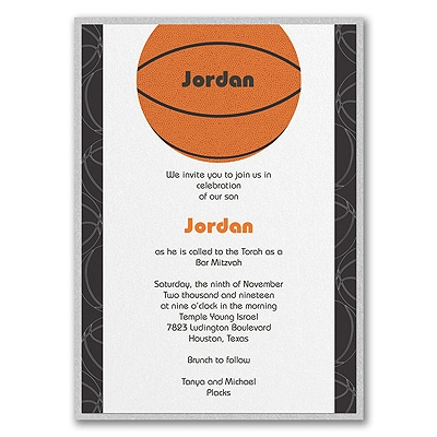 Sports Star - Basketball - Invitation with Backer