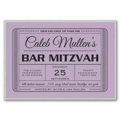 Exclusive VIP Pass - Bar Mitzvah - with Backer - Lavender