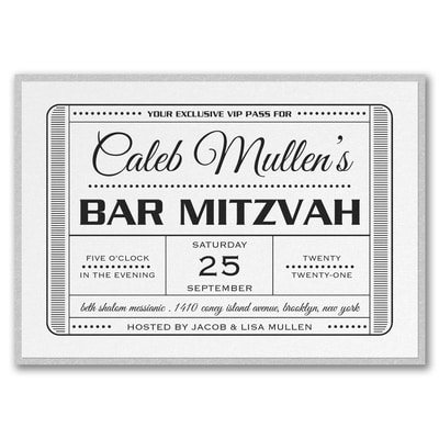 Exclusive VIP Pass - Bar Mitzvah - with Backer - White Shimmer