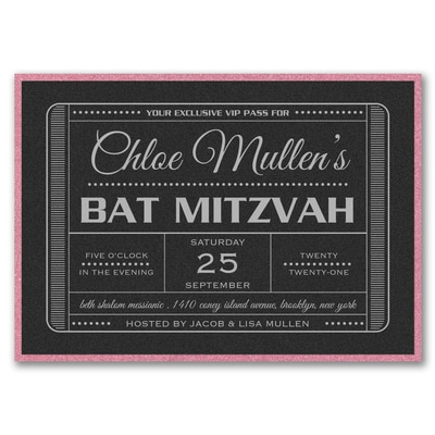 Exclusive VIP Pass - Bat Mitzvah - with Backer - Black Shimmer