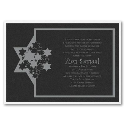 Stars of David - Invitation with Backer - Black Shimmer