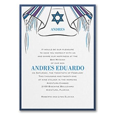 Tallit and Star - Invitation with Backer