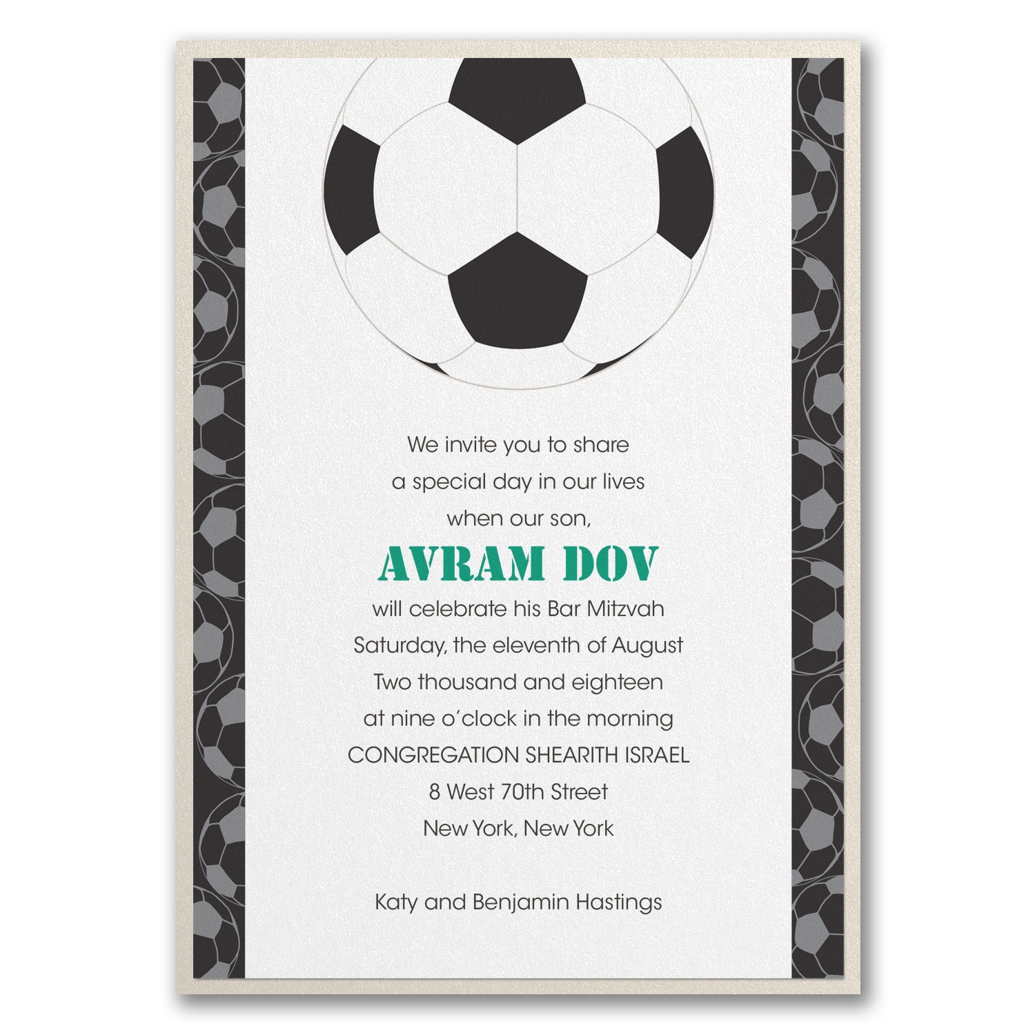Sports Star Soccer Invitation with Backer Bar Bat Mitzvah