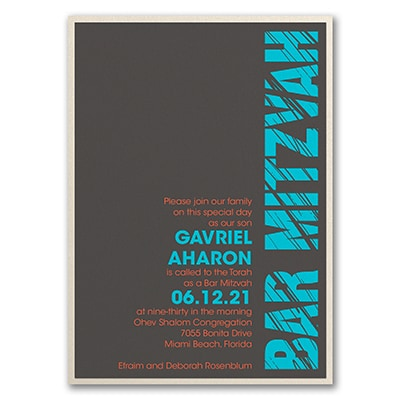 Mitzvah Lines - Invitation with Backer