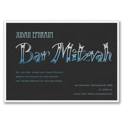 Fashion Bar Mitzvah - Invitation with Backer - Black Shimmer