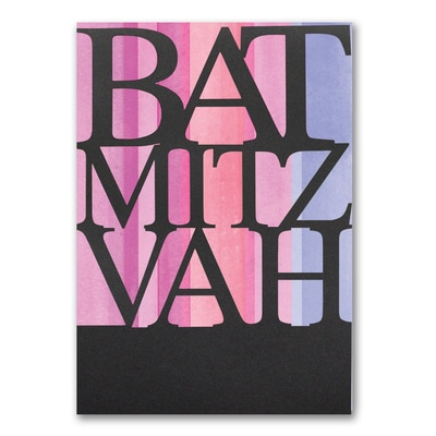 Color Stripes - Bat Mitzvah - Invitation