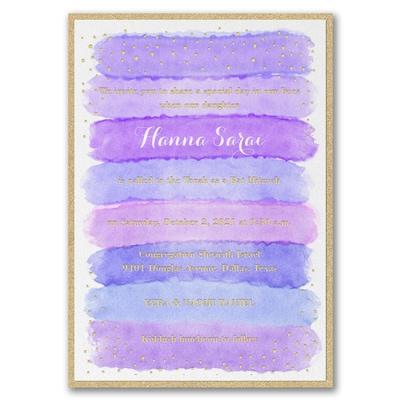 Bright Watercolor - Invitation with Backer - Hydrangea