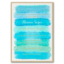 Bright Watercolor - Invitation with Backer - Aqua