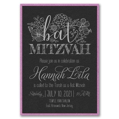 floral mitzvah invitation with backer black shimmer bar bat