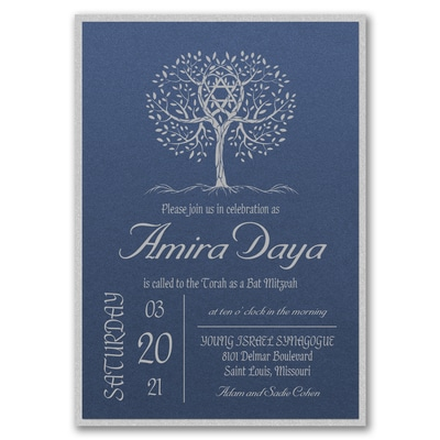 Marvelous Tree - Invitation with Backer - Sapphire Shimmer