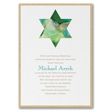Be Bold - Star of David - Invitation with Backer - Emerald