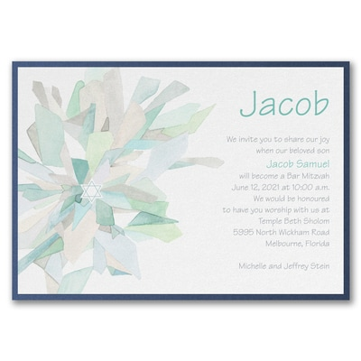 Watercolor Celebration - Invitation with Backer - Lagoon