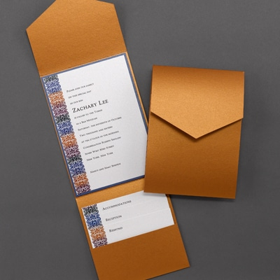 Bar Mitzvah Ikat Pattern Shimmer Pocket - Invitation