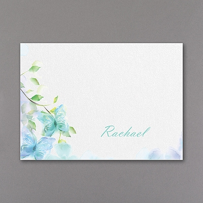 Watercolor Butterfly - Thank You Note - Aqua