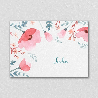Pretty Poppies - Thank You Note - Coral