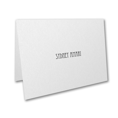 Designer Mitzvah - Thank You Note - White Shimmer
