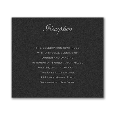 Designer Mitzvah - Reception Card - Black Shimmer
