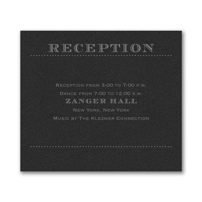 Mitzvah Type - Reception Card - Black Shimmer