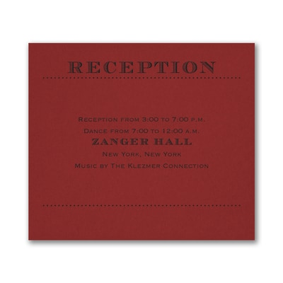 Mitzvah Type - Reception Card - Claret