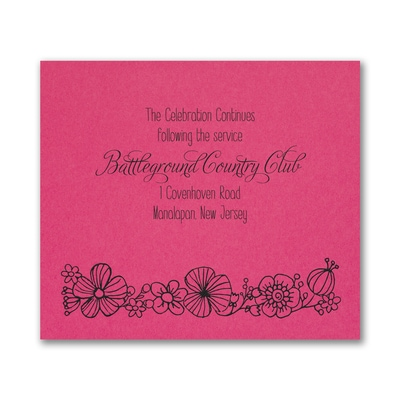 Floral Mitzvah - Reception Card - Fuchsia
