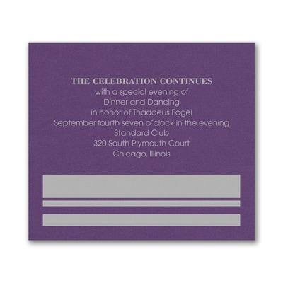 Honorary Brackets - Reception Card - Purple Shimmer