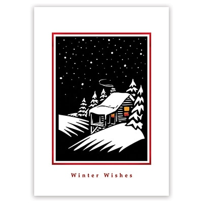 Winter Cabin Card