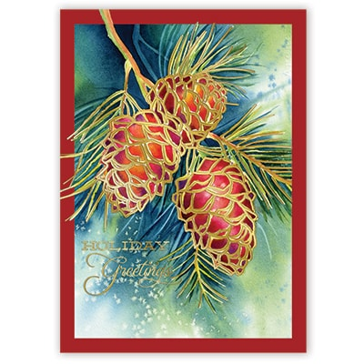 Golden Pine Cones Card