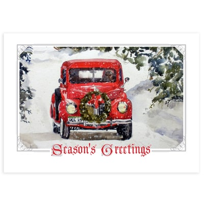 Vintage Holiday Truck Card