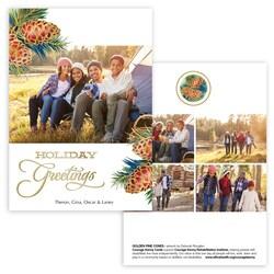 Golden Pine Cones Photo Card