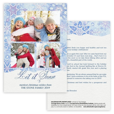 Kaleidoscope Snowflakes Photo Card