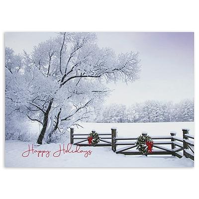 Frosty Winter Scene Happy Holidays