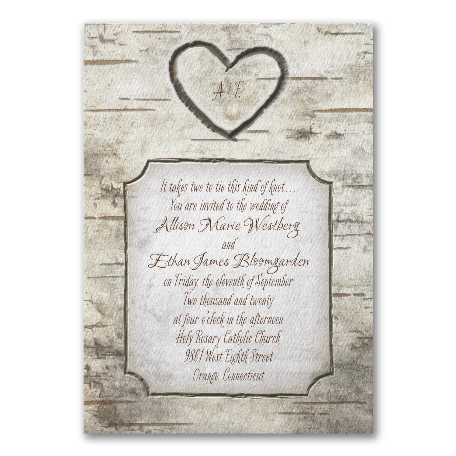Woodsy Monogram Invitation Wedding Invitations Carlson Craft