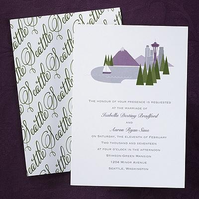 Cityscape Invitation Seattle Wedding Invitations Carlson Craft