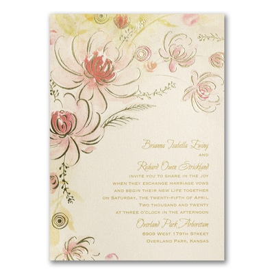 Warm Floral - Invitation - Coral