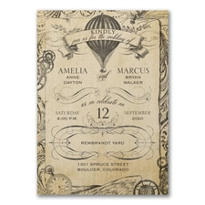 Vintage wedding invitation: Aerial Steampunk