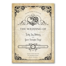 Vintage wedding invitation: Heart of Steampunk