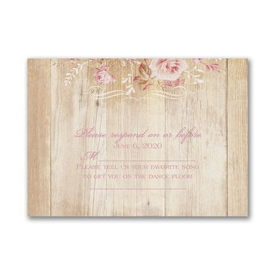 Wooden Roses - Response Card and Envelope