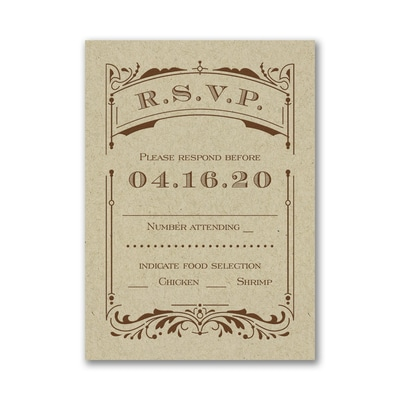 Vintage Ticket - Response Card and Envelope