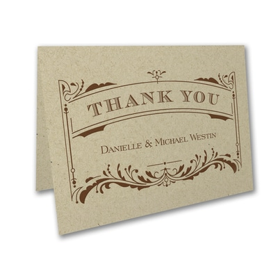 Vintage Ticket - Thank You Card and Envelope