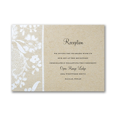 Homespun Bridal - Reception Card