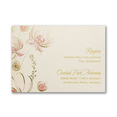 Warm Floral - Reception Card - Coral