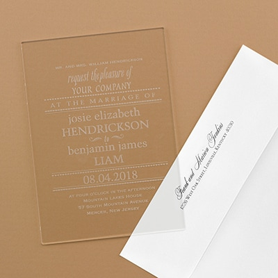 Clearly Marvelous - Acrylic Invitation and Envelope - Option 2