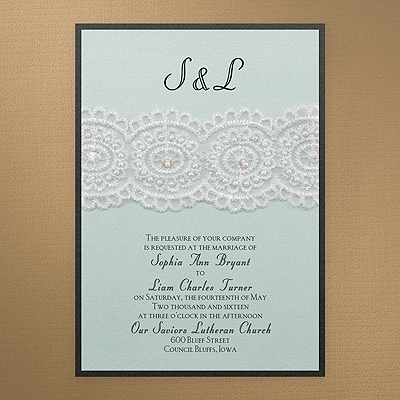 Bridal Lace & Pearls - Invitation - Aqua Shimmer